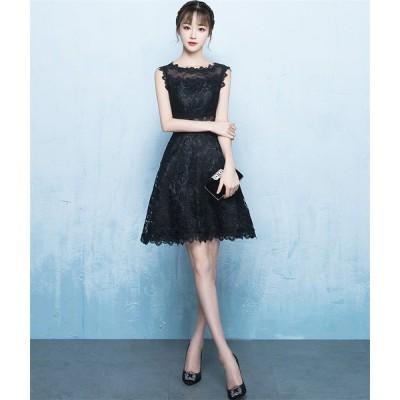 ウェディングドレス ショートドレス パーティードレス 10代 20代 30代 ワンピース おしゃれ フォーマル お呼ばれ カラードレス ワンピ ミニドレス[ブラック]