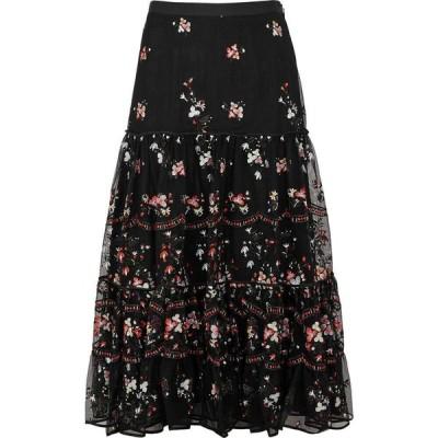 トリー バーチ Tory Burch レディース ひざ丈スカート スカート Black Floral-Embroidered Tulle Midi Skirt Black