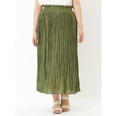 【大きいサイズ】【3-5L】ランダムプリーツスカート 大きいサイズ スカート レディース