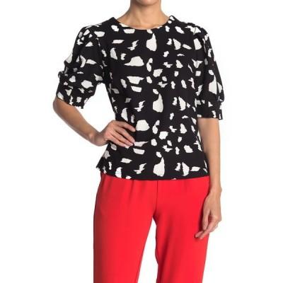 メロデイ レディース Tシャツ トップス Zip Back Puff Sleeve Knit Blouse BLACK WHITE PATTERN