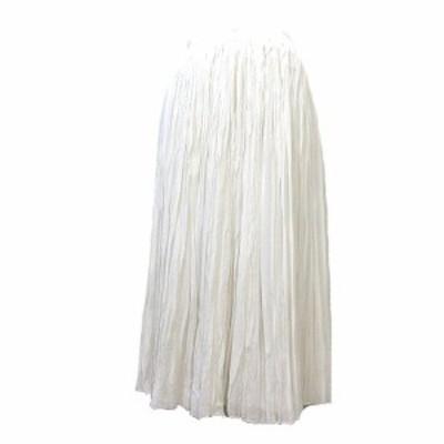 【中古】ガリャルダガランテ GALLARDAGALANTE ロングスカート マキシ丈 プリーツ 白 ホワイト 1 S ウエストゴム IBO3 X レディース