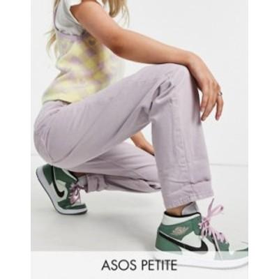 エイソス レディース デニムパンツ ボトムス ASOS DESIGN Petite high rise 'slouchy' mom jean in lilac Lilac