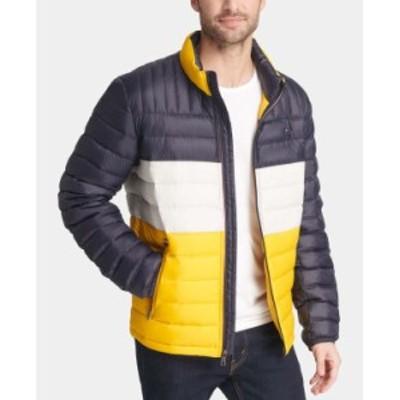トミー ヒルフィガー メンズ ジャケット・ブルゾン アウター Men's Down Quilted Packable Puffer Jacket Yellow Navy