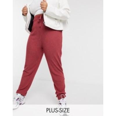 ニュールック レディース カジュアルパンツ ボトムス New Look Curve lounge ribbed sweatpants in berry Berry