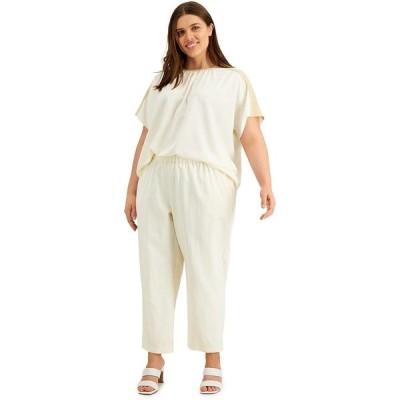 アルファニ カジュアルパンツ ボトムス レディース Plus Size Straight-Leg Pants, Created for Macy's Antique White