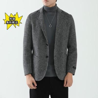 コート 男性 千鳥チェック ウール リバーシブルラシャ スーツ 冬の新商品 復古 スリム チェックのラシャスーツ