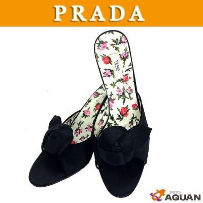 大特価! PRADA プラダ ミュール サンダル 靴 サテン ブラック 黒 表記サイズ35 2/1 レディース