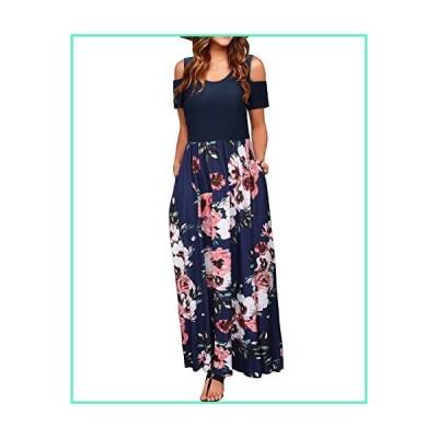 STYLEWORD Women's Summer Cold Shoulder Floral Print Elegant Maxi Long Dress with Pocket(Floral04,S)並行輸入品