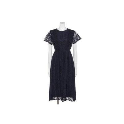【Rewde】サイドプリーツレースドレス(0R04-84742) (ネイビー)