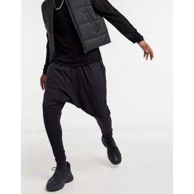 エイソス メンズ カジュアルパンツ ボトムス ASOS DESIGN lightweight drop crotch sweatpants in black Black
