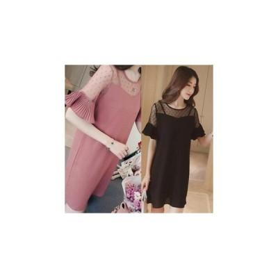 ワンピース 胸元シースルー&袖☆シンプル+体型カバー/2色 us-0164