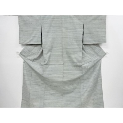 宗sou 横段織り出し手織り真綿紬単衣着物【リサイクル】【着】