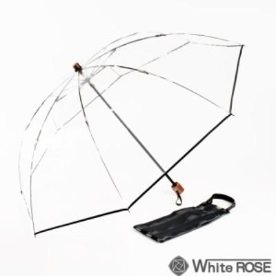 折りたたみ傘 アメマチ50 ショート ブラック ホワイトローズ WHITE ROSE ビニール傘 雨傘